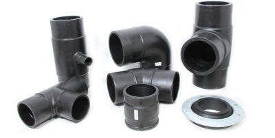 Plasti-Tech's German-made HDPE injection moulded fittings supplied to Rendifield. Image credit: Plasti-Tech Piping Systems
