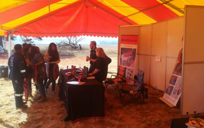 Visitors engaging with one of the exhibitors at the Bronkhorstspruit expo in Mpumalanga. Image credit: MTE