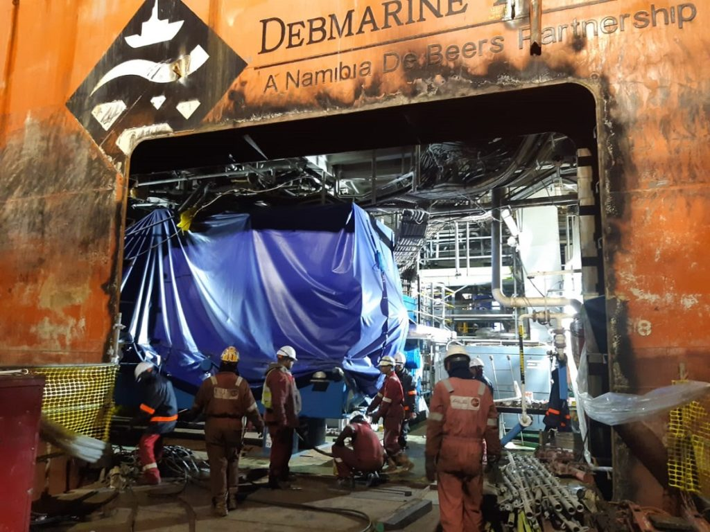 The Debmar Pacific mining vessel had two of its engines replaced. Image credit: ALE