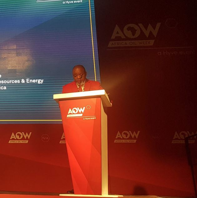 Gwede Mantashe during his keynote address at Africa Oil Week in Cape Town. Image credit: Twitter