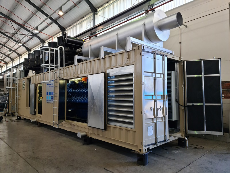 After engine has been positioned within the container and silencer mounted on the roof of the Zest WEG genset solution. Image credit: Zest WEG