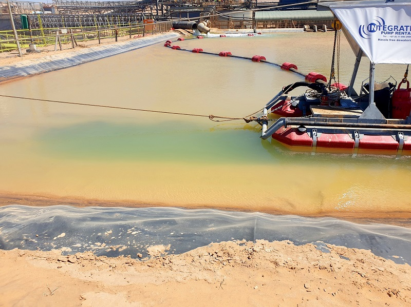 Ensuring sufficient water storage capacity in mines' process ponds is crucial. Image credit: Pump Rental