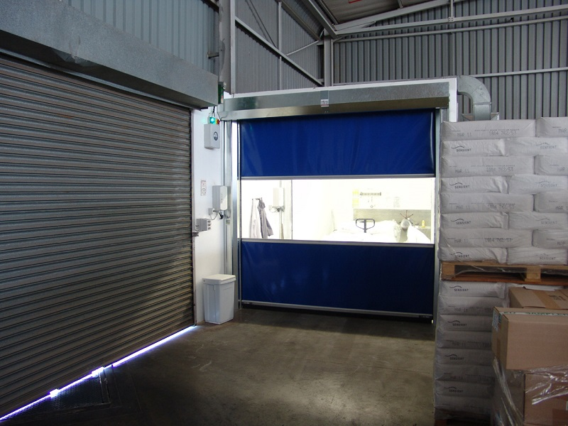 The Apex high speed doors offer optimum solutions which will enhance operations in manufacturing and warehousing facilities. Photo by Apex Strip Curtains