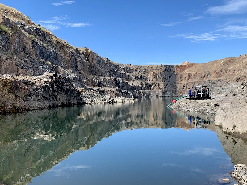 A high performance Sykes diesel driven pump set removed 103 million litres of water in just 30 days from an open pit at an existing copper mine in northern Botswana. Photo by: Sykes