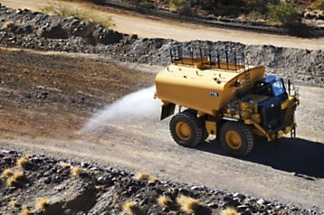 Using less water to control dust, the new Cat 777G Water Solutions truck offers a smarter, sustainable way to water. Photo credit: Caterpillar
